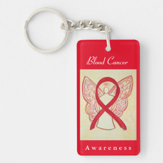Blood Cancer Awareness Red Ribbon Angel Key Chain