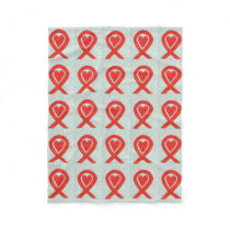 Blood Cancer Awareness Red Ribbon Chemo Blanket