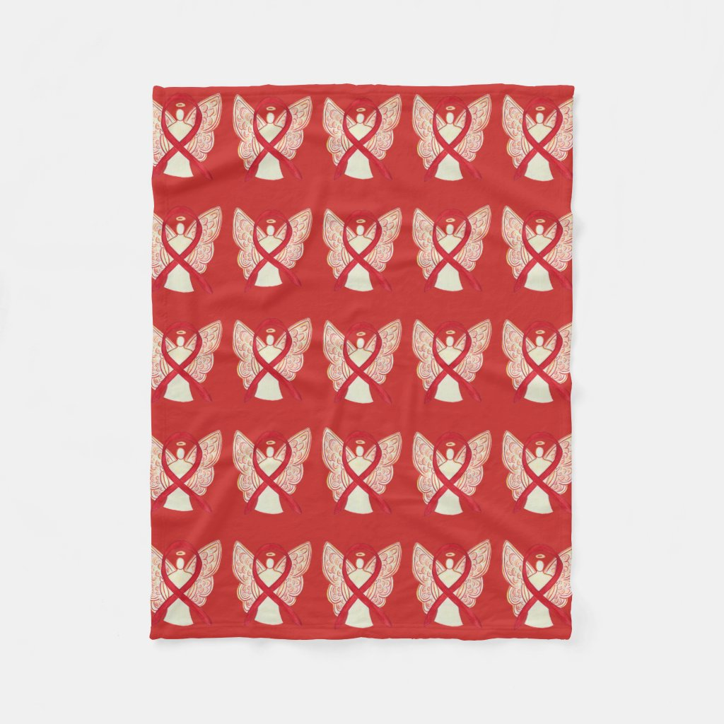 Blood Cancer Awareness Red Ribbon Fleece Blanket