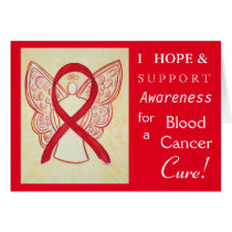 Blood Cancer Awareness Ribbon Angel Greeting Card