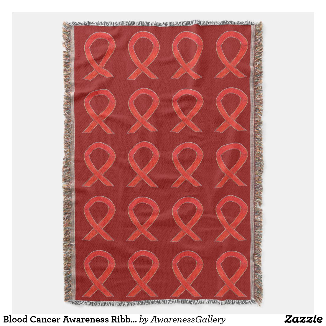 Blood Cancer Awareness Ribbon Art Throw Blanket