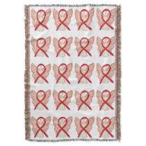 Blood Cancer Awareness Ribbon Throw Blankets