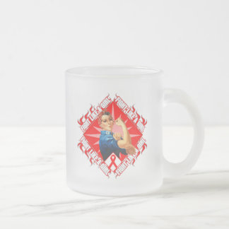 Blood Cancer Fight Rosie The Riveter 10 Oz Frosted Glass Coffee Mug