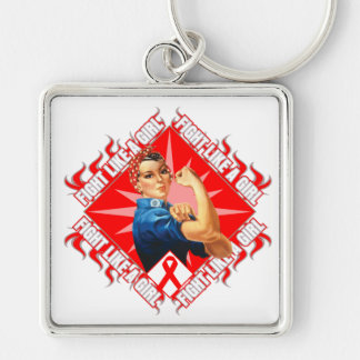 Blood Cancer Fight Rosie The Riveter Silver-Colored Square Keychain