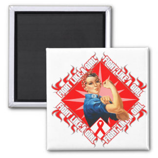 Blood Cancer Fight Rosie The Riveter 2 Inch Square Magnet