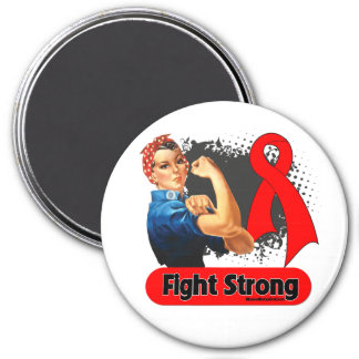 Blood Cancer Fight Strong Rosie Riveter 3 Inch Round Magnet