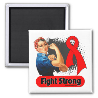 Blood Cancer Fight Strong Rosie Riveter 2 Inch Square Magnet