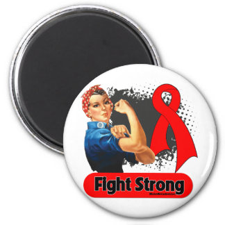 Blood Cancer Fight Strong Rosie Riveter 2 Inch Round Magnet