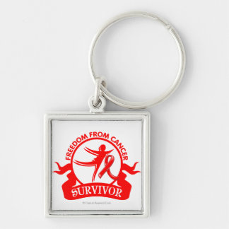 Blood Cancer - Freedom From Cancer Survivor Silver-Colored Square Keychain