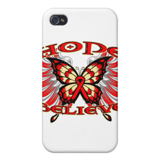 Blood Cancer Hope Believe Butterfly Covers For iPhone 4
