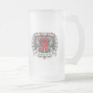 Blood Cancer Hope Love Cure 16 Oz Frosted Glass Beer Mug