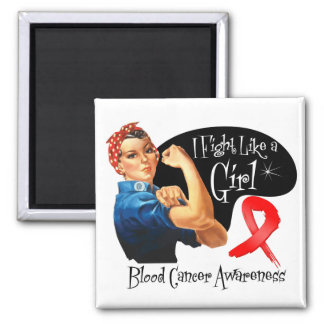 Blood Cancer I Fight Like a Girl Rosie The Riveter 2 Inch Square Magnet