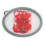 Blood Cancer Keep Calm and Fight On Oval Belt Buckle
