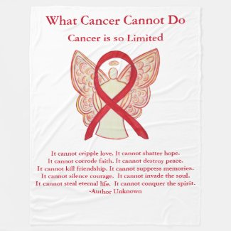 Blood Cancer Red Awareness Ribbon Angel Blanket