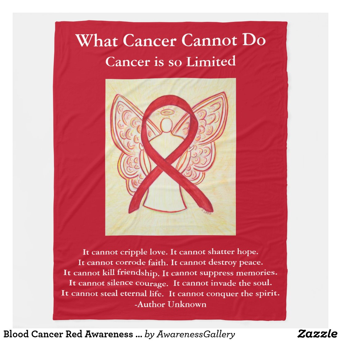 Blood Cancer Red Awareness Ribbon Chemo Blanket