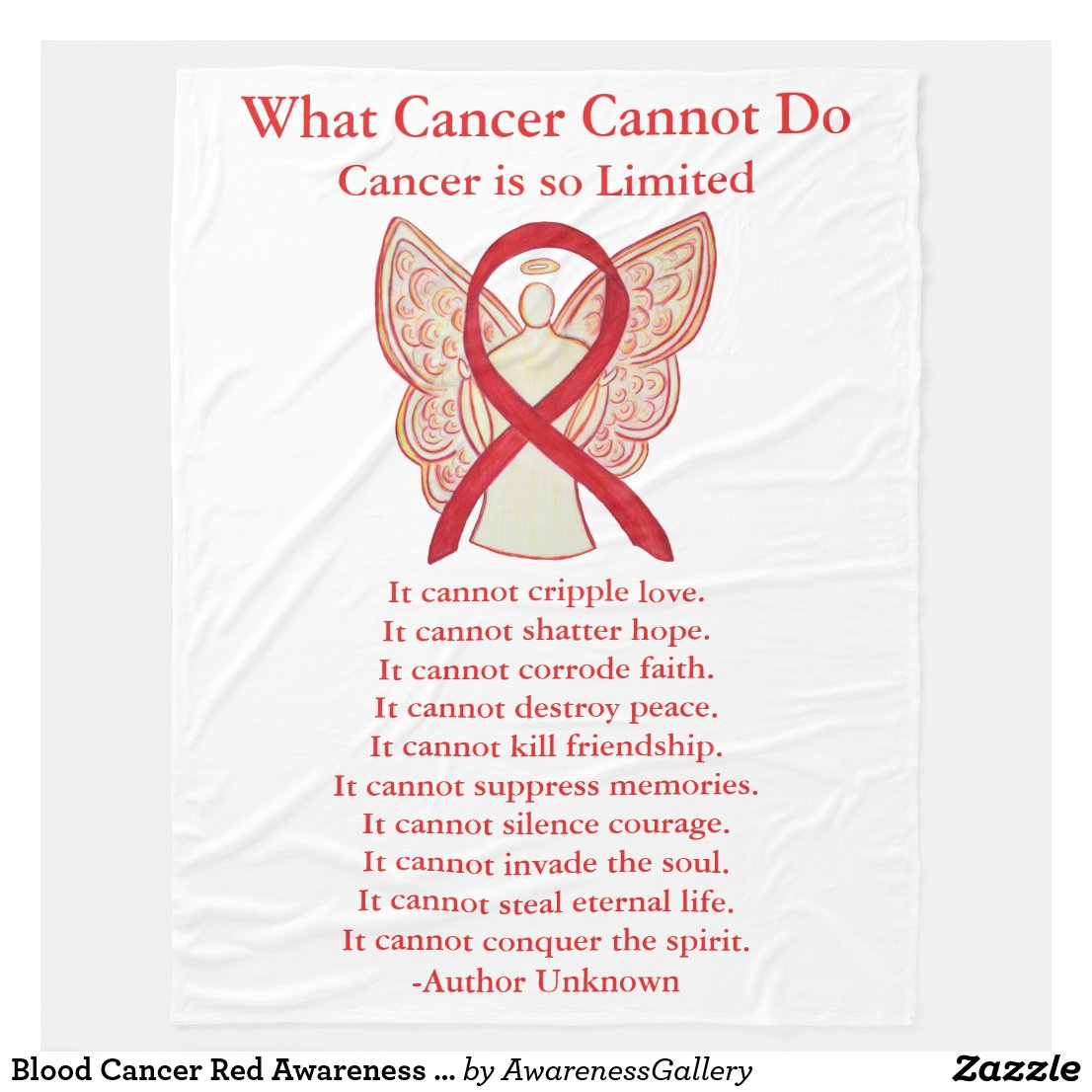 Blood Cancer Red Awareness Ribbon Fleece Blanket