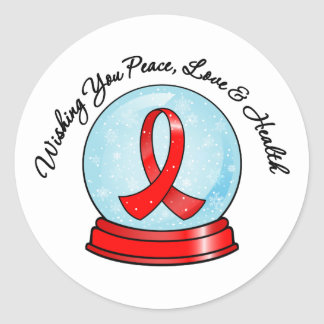 Blood Cancer Ribbon Merry Christmas Snowglobe Classic Round Sticker