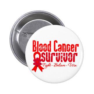 Blood Cancer Survivor Flower Ribbon Button