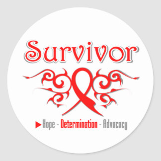 Blood Cancer Survivor Tribal Ribbon Stickers
