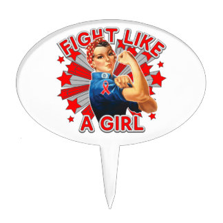 Blood Cancer Vintage Rosie Fight Like A Girl Cake Pick