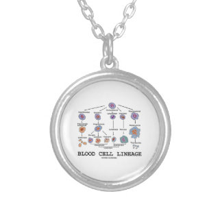 Blood Cell Lineage (Biology Health Medicine) Silver Plated Necklace