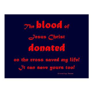 blood donated postcard