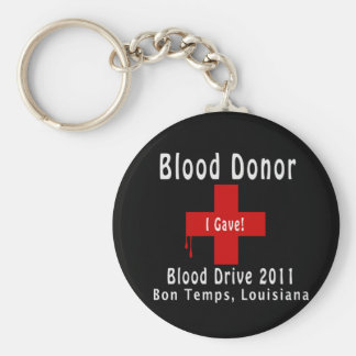 blood donor 2011 W-drops Basic Round Button Keychain