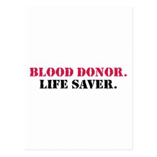 Blood Donor. Life Saver. Postcard