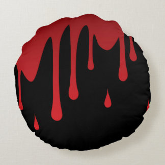 Blood dripping round pillow