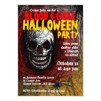 Blood Gore Halloween Party Invitation Skull