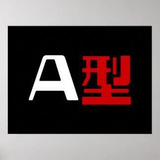 Blood Group A Japanese Kanji Poster