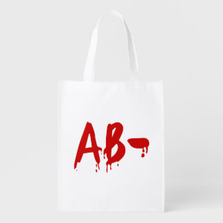 Blood Group AB- Negative #Horror Hospital Reusable Grocery Bag