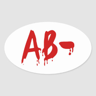 Blood Group AB- Negative Horror Hospital Oval Stickers