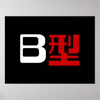 Blood Group B Japanese Kanji Poster