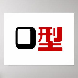 Blood Group O Japanese Kanji Poster