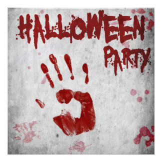 Blood Handprint Halloween Party Invitation