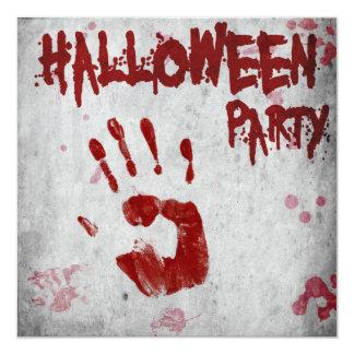"Blood Handprint Halloween Party Invitation 5.25"" Square Invitation Card"