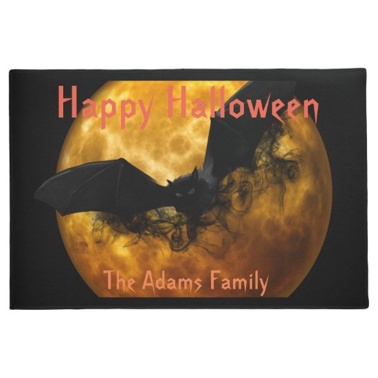 Blood Moon and Black Bat, Spooky Halloween Doormat
