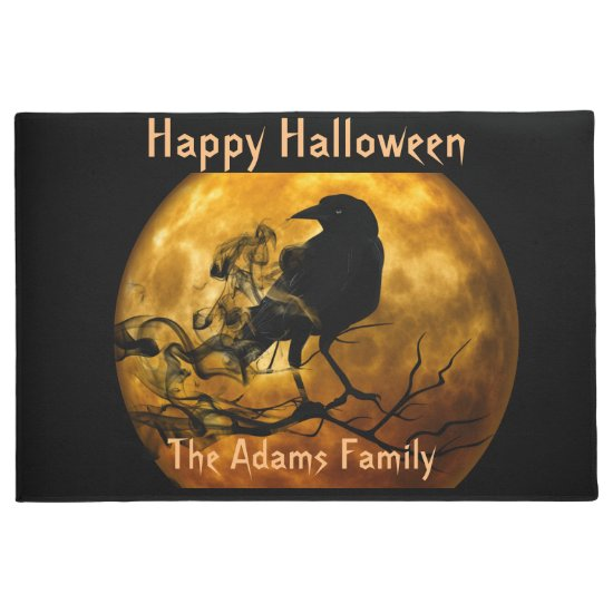 Blood Moon and Black Raven, Spooky Halloween Doormat