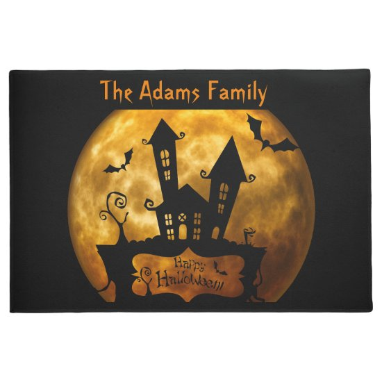Blood Moon and Haunted House Spooky Halloween Doormat