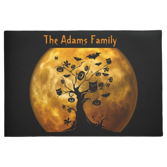 Blood Moon and Spooky Black Tree Halloween Doormat