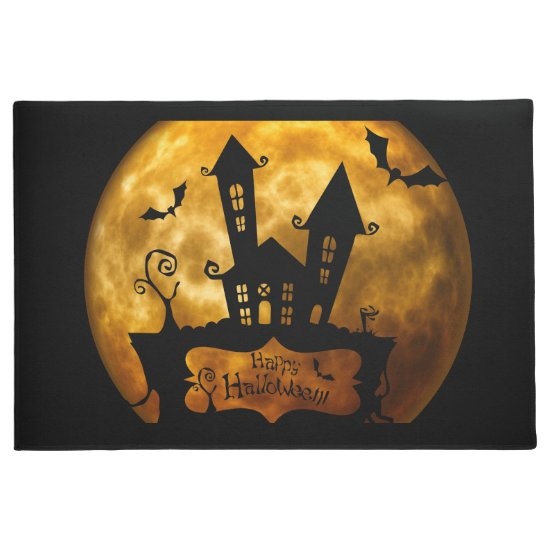 Blood Moon & Haunted House Spooky Halloween Doormat