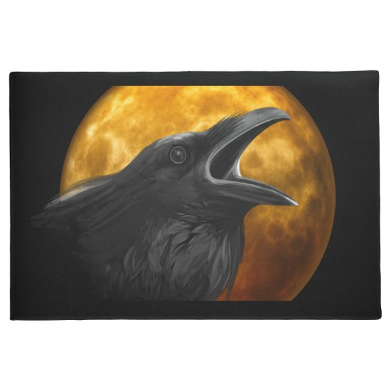 Blood Moon & Spooky Black Raven Halloween Doormat