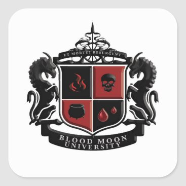 Halloween Themed Blood Moon University Crest Square Sticker