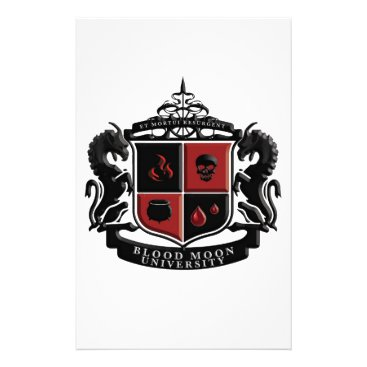 Halloween Themed Blood Moon University School Crest Stationery
