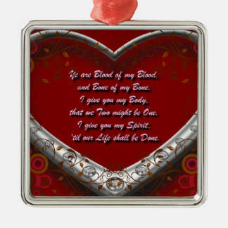 Blood of my Blood: Scot Highland Marriage Oath Red Metal Ornament