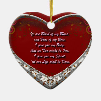 Blood of my Blood: Scots Gaelic Marriage Oath Red Ceramic Ornament