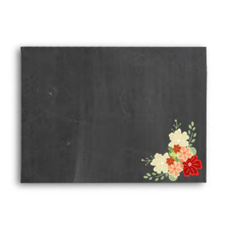 Blood Orange Flower Chalkboard Wedding Envelope