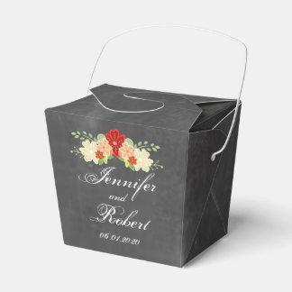 Blood Orange Flower Chalkboard Wedding Favor Box