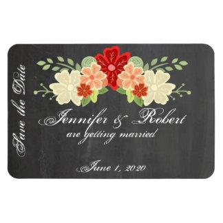 Blood Orange Flower Wedding Save the Date Vinyl Magnets